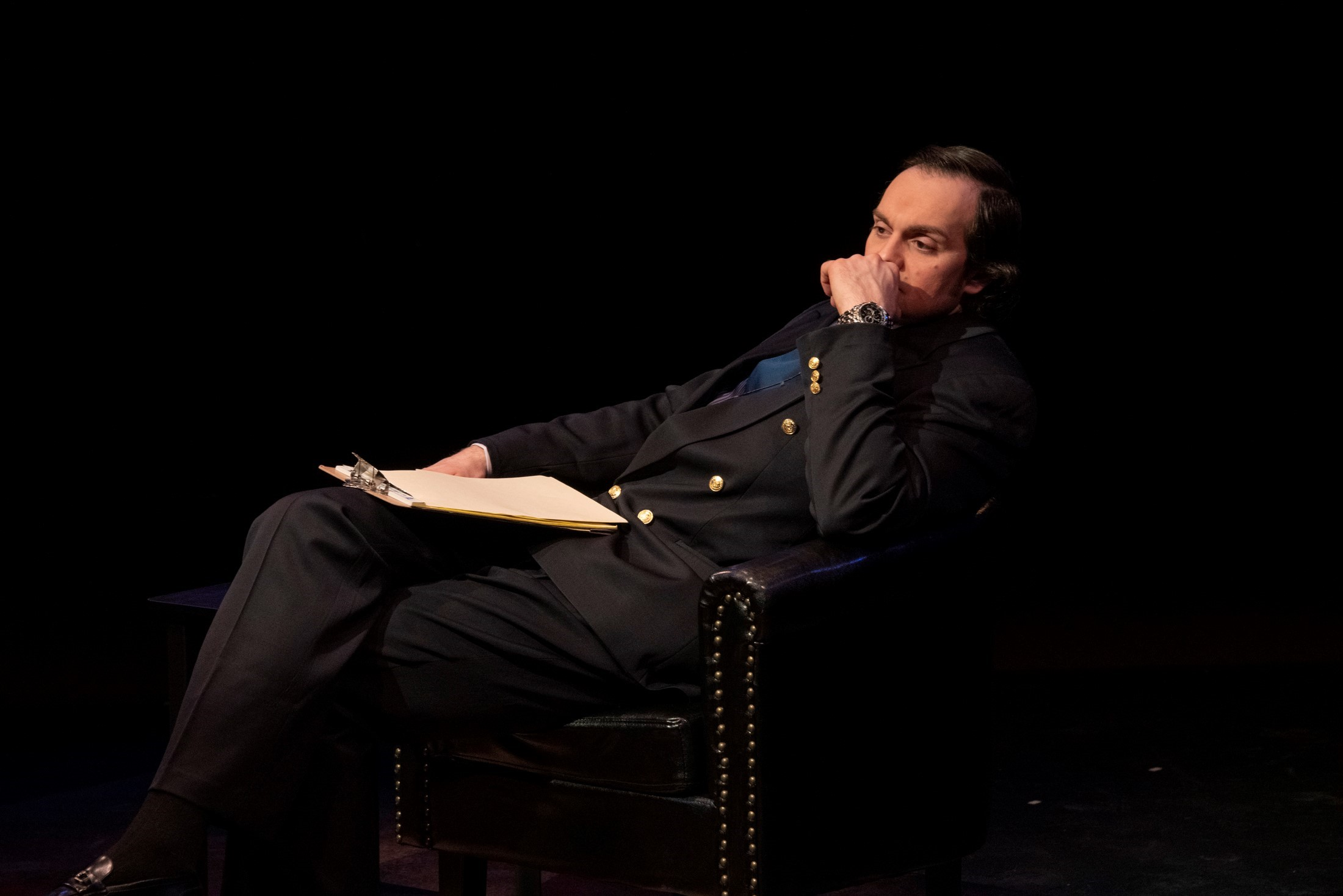 "Adriano Gatto as David Frost, ICTC's ""Frost/Nixon."""